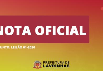 NOTA OFICIAL – LEILÃO 01/2020